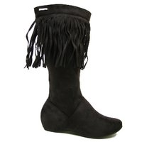 View Item NEW BROWN TASSEL FLAT SUEDE EFFECT BOHO BOOTS SIZE 3-8